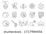 flat vector icons with a thin...