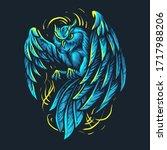 blue light owl illustration... | Shutterstock .eps vector #1717988206