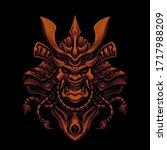 samurai mask skull head...   Shutterstock .eps vector #1717988209