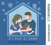 covid 19 american family i stay ... | Shutterstock .eps vector #1718008006