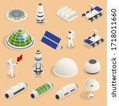 isometric set of icons space... | Shutterstock .eps vector #1718011660