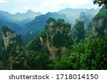 Small photo of Natural scenery of zhangjiajie national forest park, hunan province, China, a famous natural scenic spot and tourist scenic spot, a world natural heritage site.