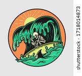 skull enjoy the summer surfing... | Shutterstock .eps vector #1718014873