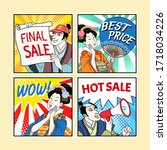 ukiyo e comic style characters... | Shutterstock . vector #1718034226