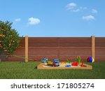garden with sandpit and... | Shutterstock . vector #171805274