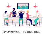 group of people drinking beer... | Shutterstock .eps vector #1718081833