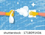 cleaning shiny tiles in the... | Shutterstock .eps vector #1718091436