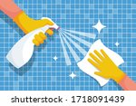 cleaning shiny tiles in the... | Shutterstock .eps vector #1718091439