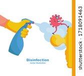 Close Up Disinfection Of Door...