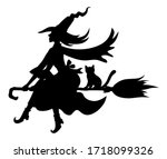 Halloween Witch And Cat On...