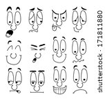 set of cartoon faces with long... | Shutterstock .eps vector #171811880