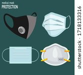 medical and hospital masks....   Shutterstock .eps vector #1718133316