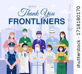 thank you essential workers... | Shutterstock .eps vector #1718180170
