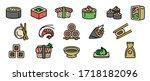 sushi roll icons set. outline...   Shutterstock .eps vector #1718182096