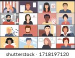online students lesson or... | Shutterstock .eps vector #1718197120