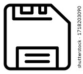 old floppy disk icon. outline...