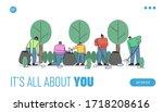 concept of volunteering... | Shutterstock .eps vector #1718208616