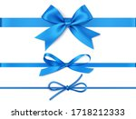 set of decorative blue bows... | Shutterstock .eps vector #1718212333