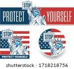 stop coronavirus concept with... | Shutterstock .eps vector #1718218756