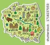 Sticker Of Poland. Colored Han...