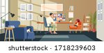 man working from home.... | Shutterstock .eps vector #1718239603
