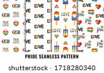gay pride seamless pattern set. ... | Shutterstock .eps vector #1718280340