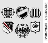 vector heraldic set of... | Shutterstock .eps vector #1718309530