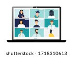 conference video call  remote... | Shutterstock .eps vector #1718310613