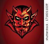 mascot logo red devil head in... | Shutterstock .eps vector #1718311039