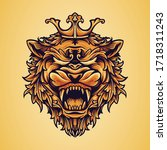 head king lion logo with... | Shutterstock .eps vector #1718311243