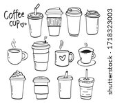coffee cups hand drawn vector...   Shutterstock .eps vector #1718323003