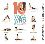 infographic of 6 yoga poses for ... | Shutterstock .eps vector #1718323840