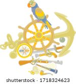 funny pirate parrot with an old ... | Shutterstock .eps vector #1718324623