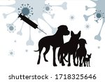 Vector Silhouette Of Dogs With...
