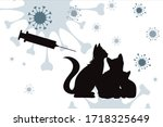 Vector Silhouette Of Cat With...