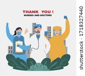 thank you doctors and nurses.... | Shutterstock .eps vector #1718327440