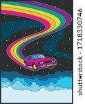 flying car  rainbow road in the ... | Shutterstock .eps vector #1718330746