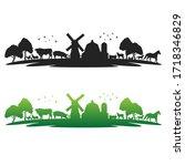 farm animals landmark with old... | Shutterstock .eps vector #1718346829