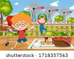 background scene with kids...   Shutterstock .eps vector #1718357563