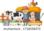 farmer and many farm animals on ...   Shutterstock .eps vector #1718358373