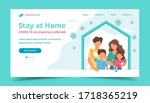 family staying at home in self... | Shutterstock . vector #1718365219