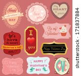 valentine's day cards... | Shutterstock .eps vector #171837884