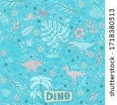 dinosaur seamless pattern on a...   Shutterstock . vector #1718380513