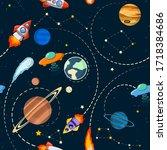 space theme. solar system... | Shutterstock .eps vector #1718384686