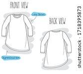 dress sketch. black and white... | Shutterstock .eps vector #1718395873