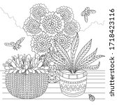 hand drawn set of flower pots.... | Shutterstock .eps vector #1718423116
