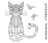 coloring pages for adult. funny ... | Shutterstock .eps vector #1718423119