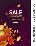 autumn sale vector background.... | Shutterstock .eps vector #1718436400