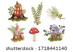 little forest fairy houses and... | Shutterstock .eps vector #1718441140