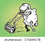 sheep cutting the grass with a... | Shutterstock .eps vector #171844178